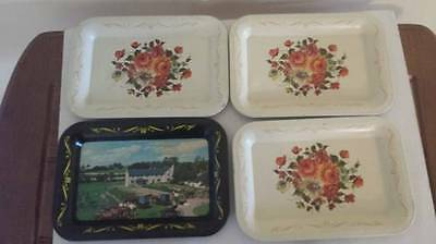 Vintage Metal Tray Cream with Flowers Amish Homestead Black Toleware Lot of 4