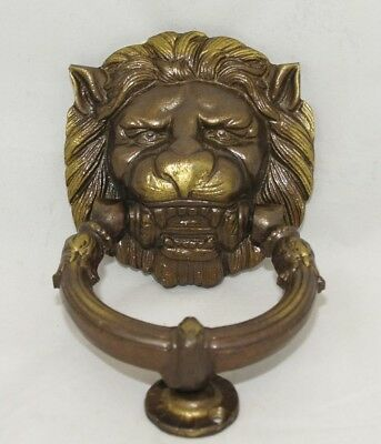 Vintage Large Heavy Solid Brass Lion Head Door Knocker