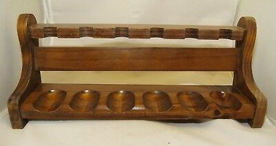 Vintage Antique Wooden Rack Stand Rest Holder for 6 Tobacco Pipes
