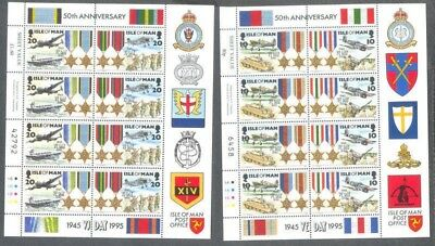 Isle of Man-World War II VE Day sheets complete mnh -Military-Aviation-Tanks
