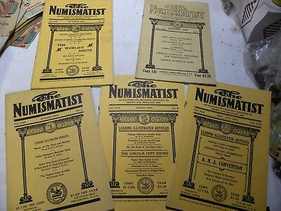 """5 """"The Numismatist"""" magazines from 1909 & 1910"""