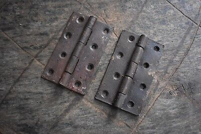 Vintage iron handmade french gate Cabin ate door Box hinges pair rusty 10.7 OZ