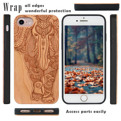 Custom iPhone 8 7 6S Case Wooden Carved Metal Plate Bulit in and Magnetic Car Mo