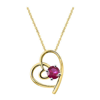 "3/4 Ct Round Red Ruby 14K Yellow Gold Fn Fancy Heart Pendant ""Special Day Gift"""
