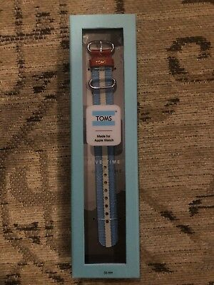 Brand New in Box! TOMS APPLE WATCH Band 38mm Blue White Stripe Summer Classic