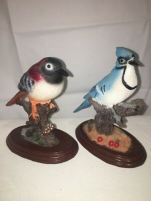Blue Jay Red Bird Figurines Nature Animal Forest Black Brown Office Decor