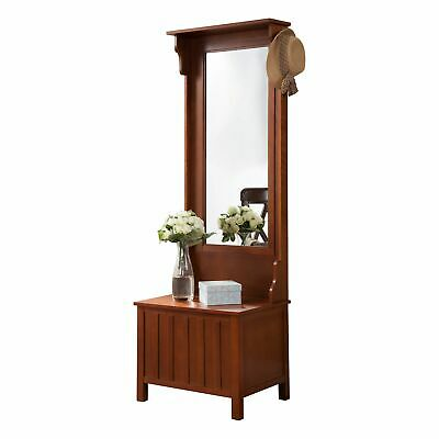 Pilaster Designs - Walnut Entryway Hall Tree with Mirror Coat Hooks and Stora...