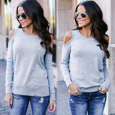 UK Womens Cold Shoulder Pearls Long Sleeve Tops Blouse Ladies Casual T Shirt Tee