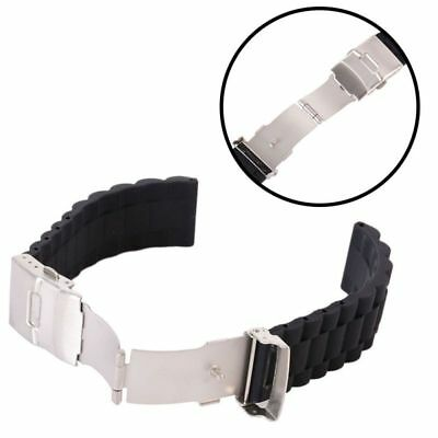 Men's Silicone Rubber Watch Strap Band Waterproof with Deployment Clasp 16-24 mm