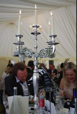 Silver Candelabra and Candles - 78cm Tall.