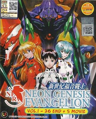 Anime DVD Neon Genesis Evangelion Chapter 1-26 End + 5 Movie ENGLISH BoxSet