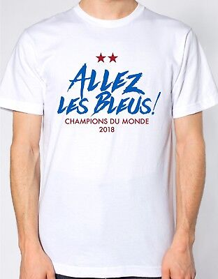 Champions Du Monde White T Shirt Two Stars France World Cup