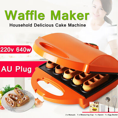 Electric Waffle Maker Non-Stick Heating Plate Pan Baker Machine Kitchenware 640W