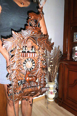 xl musical dancers cuckoo clock ,black forest  2 melodies 3 weight all wood