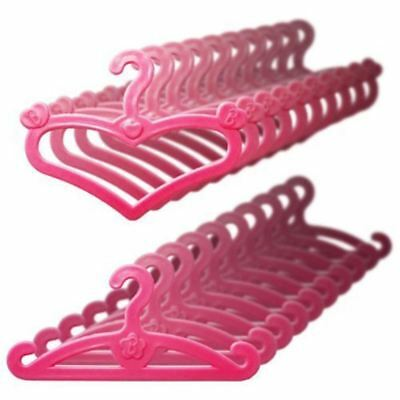 20 Pcs/Lot Pink Hangers Dress Clothes Accessories For Barbie Doll Pretend Play N
