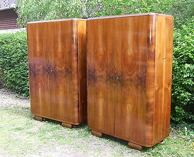 Pair of Art Deco Double Wardrobes Walnut 1920s Antique Vintage Bedroom furniture