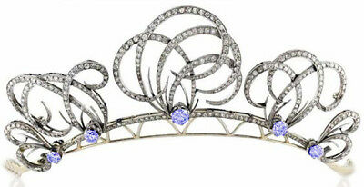 16.20cts Rose Cut Diamond Sapphire Antique Victorian Look 925 Silver Hair Tiara Low Price Jewelry & Watches
