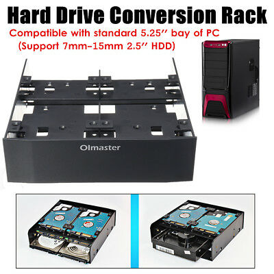 OImaster 2.5/3.5'' HDD/SSD to 5.25'' Floppy-Drive Bay Computer Mounting Bracket