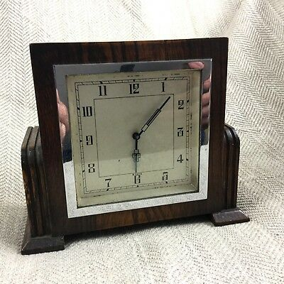 Art Deco Mantle Clock Wooden Oak 8 Day Clockwork Mechanical Circa 1930s