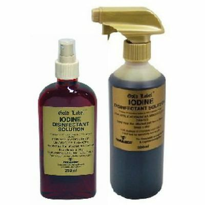 New Horse Cob Pony Animal Gold Label Non-Toxic Iodine Solution - 250ml Spray