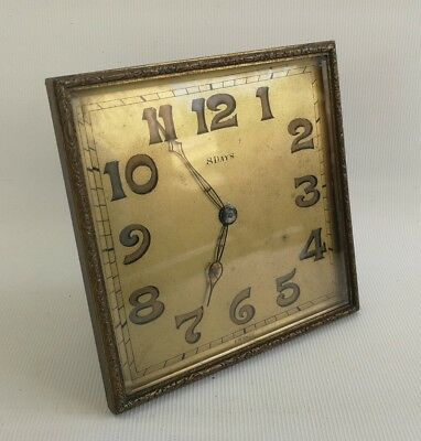 Vintage Art Deco P.B France 8 Day Square Mantle Desk Easel Back Clock Metal Dore