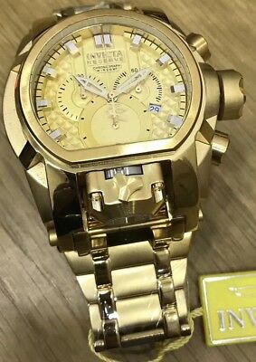 New With Box Invicta Men's Reserve Bolt Zeus Gold Dial Strap Magnum Dual Watch