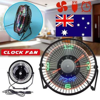 4-6'' LED Clock Fan Mini USB Powered Cooling Flashing Real Time Display Function