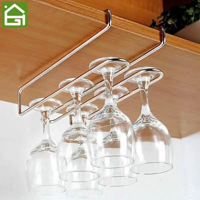 Stainless Steel Wine Glass Hanger Cup Holder Cabintet Hooks Hold 2-6 Cups
