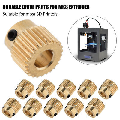 10pcs MK7 MK8 Extruder Drive Gear 26/40Teeth Brass 5mm Bore For 3D Printer