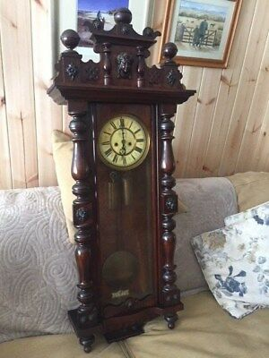 ANTIQUE Chiming, double weight, painted face VIENNA GUSTAV BECKER wall clock