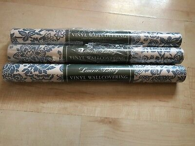 Beautiful Vintage Laura Ashley Wall Covering X3 New Rolls