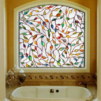 3D Leaf Stained Decorative Glass Frosted PVC Window Film Decor 45x100cm 8CF2