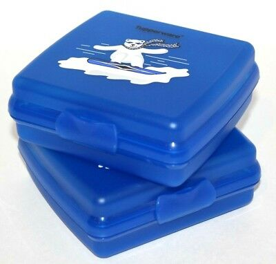 Tupperware Sandwich Keepers Polar Bear Ski Boarding Lunch Boxes Set of 2 in Blue