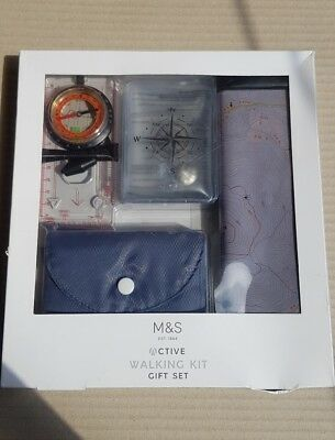 M & S Active Walking Kit Gift Set .map ,compass ,hand Warmers and Mat .