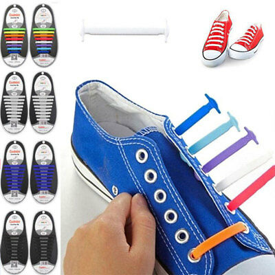 16 Pcs Silicone Lace Fashion Shoelaces Elastic Sneakers Bootlace Strap EEC8