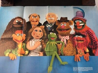 VINTAGE MUPPETS Fold-out Poster,1979,National Geographic Society w/fan club news
