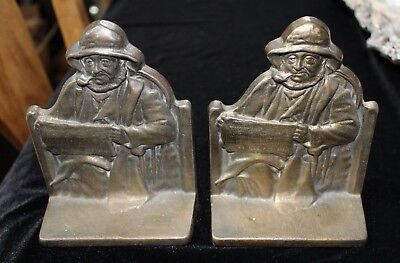 Vintage Metal Book Ends Cape Cod Fisherman Copyright 1928