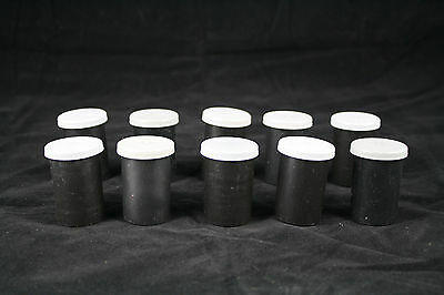 Lot of 10 Vintage Black Plastic 35mm Film Canisters Containers Empty Geocaching