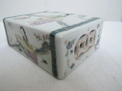 Antique 19c Chinese Porcelain Pillow Block