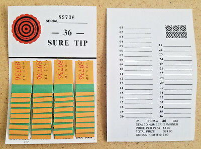 1 Dozen 36# SURE (ALL) TIP's BOARD (#1-36) Bingo Pull Tab Jar Ticket~USPS $0.99c