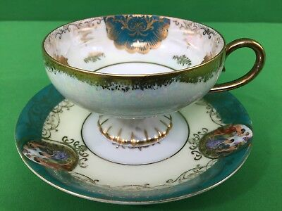 LM Royal Halsey Very Fine Vintage Cup And Saucer Blue And Gold