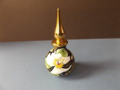 Moorcroft Flower Design Perfume / Scent Bottle With Metal Top