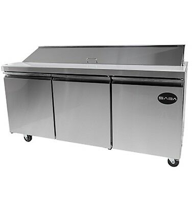 "New 71"" 3 Door 18 Pans Sandwich Salad Refrigerator Prep Table Cooler Casters"