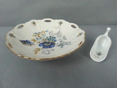 Vintage Porcelain Dish & Scoop Signed Hand painted Blue and Yellow Floral Flower