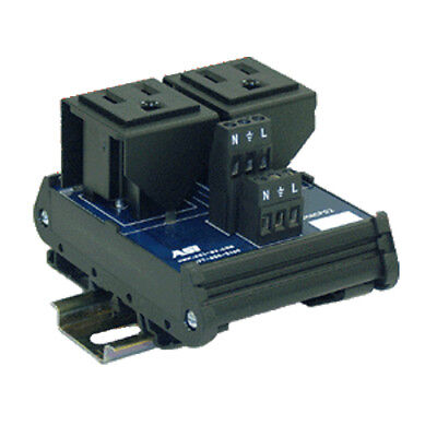 Duplex AC Outlet DIN Rail Mounted Receptacle, 15 Amp, 125 Vac, UL508 IMACP02 ASI