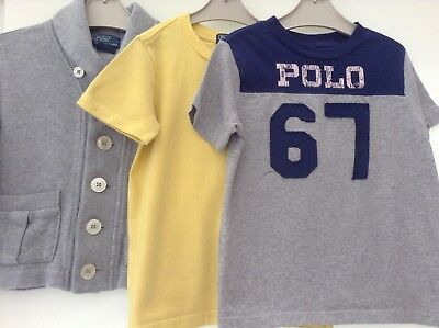 100% Ralph Lauren Boys Small Designer Bundle Of Tops / Cardigan 4Yrs