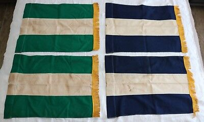 """(4) Antique Striped & Gold Fringed Signal Flags - (2) Matched PAIRS 18"""" x 25"""""""