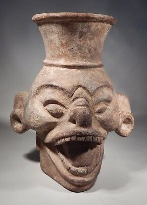 Extremely Rare Precolumbian Pre-classic  Mayan Wind God Effigy Vessel
