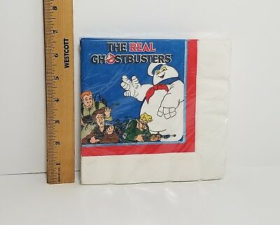 NOS Sealed Vintage 1986 The Real Ghostbusters Large Party Napkins 13 x 13""