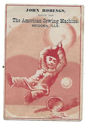 American Sewing Machine Victorian Trade Card Medora Ills.